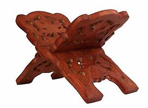 Exquisite Hand Carved Wooden Folding Book Stand Holder with Intricate Carvings