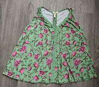 Matilda Jane Floral Sleeveless Tank Top Blouse Shirt Sz Small Pink Green