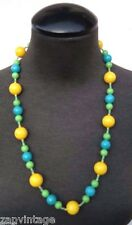 Vintage 1970's Yellow, Green Blue Plastic Beaded Hippie Costume Jewelry Necklace