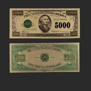 5000 Dollar American Color Gold Banknote Collectible World Money Art Ornament