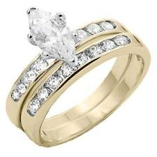 18K GOLD EP 2.3CT DIAMOND SIMULATED ENGAGEMENT RING size 6 or M