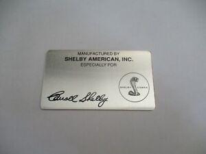 Placa Identificadora Shelby Cobra AC s69