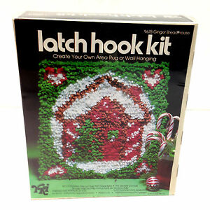 Vtg 1977 CHRISTMAS Latch Hook Kit Ginger Bread House Wall Hanging Printed Canvas