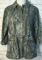 Chico's Women's Jacket Size 1 (Small) Faux Snakeskin Zipper Jacket Black Gray
