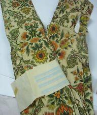 Floral ~ Paisley vintage mid century barkcloth fabric curtains drapes 2 panels