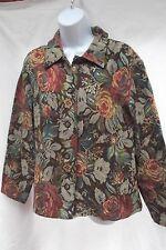 vtg Coldwater Creek PL brn rust chintz floral boxy loose jacket top shirt MINT