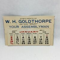 "Vintage 1938 W. H. Goldthorpe ""Goldy"" Your Assemblyman Year Calendar Wisconsin"