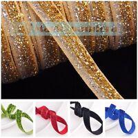 "New 10/200 yards 3/8"" 10mm Flocked Sparkle Glitter Velvet Ribbon Bows Sew Crafts"