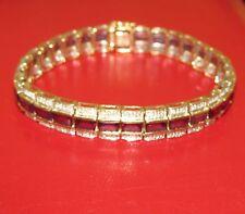 BEAUTIFUL SECONDHAND 9ct YELLOW GOLD GARNET &DIAMOND LINE BRACELET 16 cm
