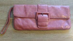 Hobo International Vintage Leather Zip Wristlet Clutch Light green preowned