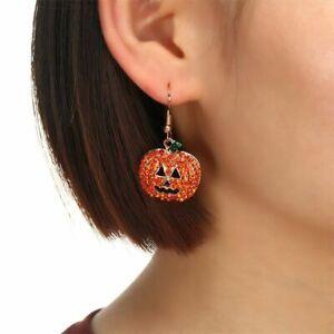Korean Dangle Earrings Women Halloween Earrings Party Jewelry Orange Pumpkin
