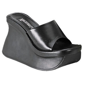 Demonia PACE-01 Platform Sandals Black Vegan Leather Slide Open Toe Wedge Heels
