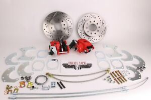 """9"""" Ford Rear Disc Brake Kit, High Performance D/S Rotors, Red PC Calipers"""