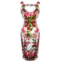 Chrystia Pink Tropical Floral Wiggle Dress Hearts and Roses London Retro Pencil