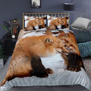 Duvet Quilt Cover Set Single Double King Super King Bedding Linen Fox Snowfield