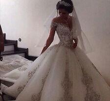 New Cap Sleeve A Line Wedding Dresses Long Train Bridal Ball Gown Custom Size