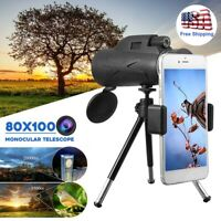 BAK4 80X100Zoom Prism HD Monocular Night vision Telescope+Phone Clip+Tripod Camp