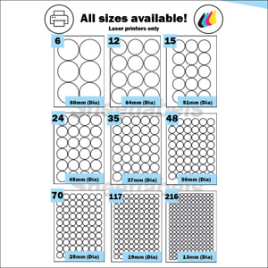 Round Gold or Silver Metallic A4 labels, suitable for laser printing.