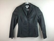 Worth Women's Dark Grey Leather Blazer Jacket  SZ 4