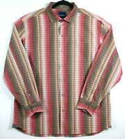 Tommy Bahama Mens Large Pink Brown Check Shirt Long Sleeve Button Up