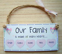 "PERSONALISED GIFT Family Heart plaque 6X3"" Wooden Shabby Chic Handmade Sign"