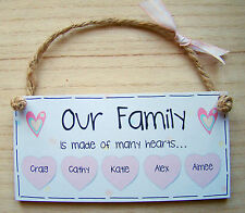 """PERSONALISED GIFT Family Heart plaque 6X3"""" Wooden Shabby Chic Handmade Sign"""
