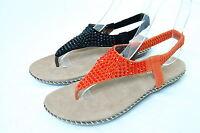 Women Studded Rhinestone Sandals Elastic Ankle Band Thongs Shoes Flip Flops L1