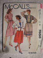 McCall's Women's Top Skirt Pattern #7858 Size 10 1982