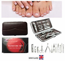 12 Pc Professional MANICURE PEDICURE KIT Stainless Steel Nail Care Set GIFT CASE