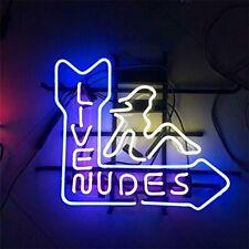 "Live Nudes Girl Pole Dance Neon Light Sign Lamp 17""x14"" Beer Bar Gift Real Glass"