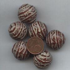 208193 *** 4 grosses perles acrylique cylindre  27x20mm décor gravé AMBRE-BEIGE