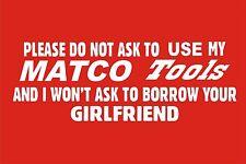 MATCO TOOL BOX WHITE  VINYL DECALS - STICKERS --USE-BORROW