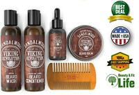 Beard Care Conditioner Kit for Men Beard Wash & Conditioner & Oil & Comb & Balm