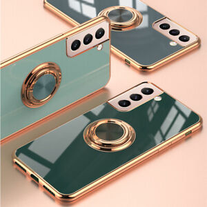For Samsung S21/Plus/Ultra 5G Ring Stand Case Shockproof Clear Silicone Cover