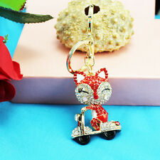 Fox  Keychain Rhinestone Crystal Keyring Key Ring Chain Bag Charm Pendant Gift