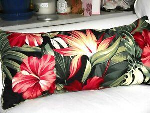 Tropical Hawaiian 100% Cotton Barkcloth Fabric LUMBAR PILLOW ~Pua-Black~