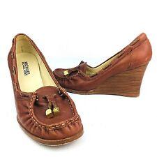 Michael Kors Wedge Slip On Loafer Stacked High Heel Brown Tassel Oxford Size 7.5