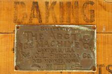 Antique Arctic Ice Machine Co. Bronze Plaque Sign C.L. Percival Co Des Moines IA