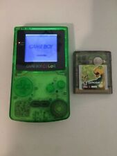 Nintendo Gameboy Color w/ Frontlight Mod & Full Clear green Case Mod W/ Game!