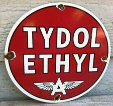 VINTAGE FLYING A TYDOL ETHYL GASOLINE PORCELAIN ENAMEL GAS PUMP SIGN
