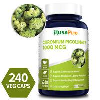 NusaPure Chromium Picolinate 1000 mcg- 240 veg caps ( Non-GMO & Gluten-free)
