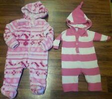 Girls Baby Gear Hooded Bodysuit & Old Navy Striped Fall Lot • Size 0-3 Months