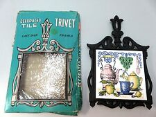 Mid-CenturyCast Iron & Tile Trivet Hot Pad- W/Box MIJ Coffee Fruit Sugar Bowl