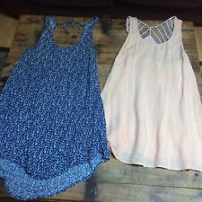 Lot Of 2 LADAKH OTHERS FOLLOW Top Sleeveless Dress Cami Blue Floral Pink SZ M/L