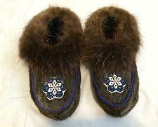 Native American Beaver Skin Moccasins,  Womens Size 7, Northeast Minnesota
