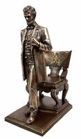 """Ebros President Abraham Lincoln Standing By Eagle Chair Historical Figurine 9""""H"""