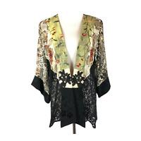 Spencer Alexis Size L Kimono Jacket Mixed Fabrics Black Green