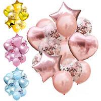 14Pcs 12/18 inch Star Heart Balloons Confetti Foil Birthday Wedding Party Decor