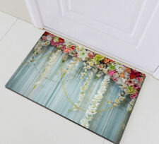 Home Bath Mat Bedroom Kitchen Rug Floor Carpet Doormat Rustic Wood Rose Floral