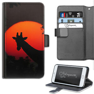 Sunset Giraffe Phone Case, PU Leather Wallet Flip Case, Cover For Samsung, Apple